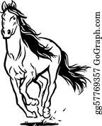 Horse Clipart Black And White : horse, clipart, black, white, Black, White, Horse, Royalty, GoGraph
