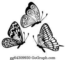 Black And White Butterfly Clip Art Royalty Free GoGraph