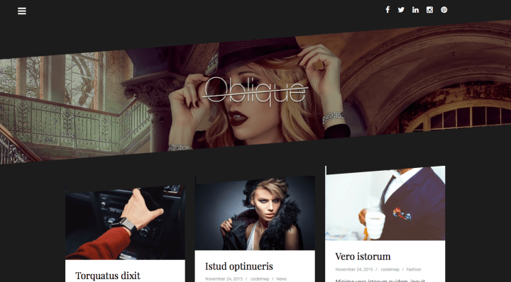 Screenshot of Oblique Free WordPress Theme