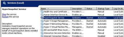 HyperSnapshot host-side service installed