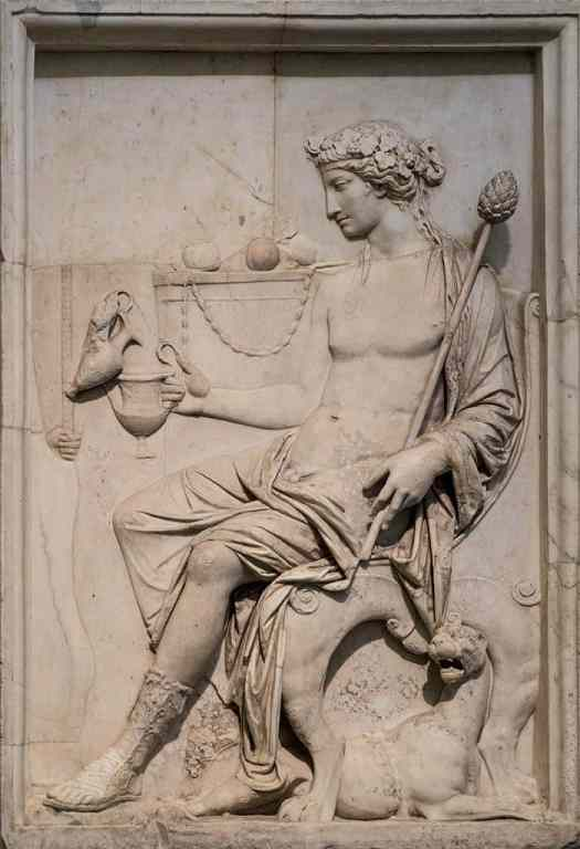 Sitting Dionysus from Neo-Attic Relief - marble statue, circa c. AD, from Roman period, Museum of Naples. .jpg
