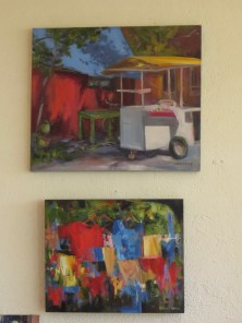 An ice cream cart and a display of shirts--touched upon just right in these two wonderful pieces.