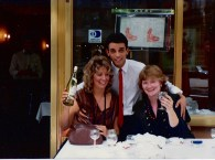 Patty and Judy D in Paris. Judy G. took the photo. The waiter should watch his hands.
