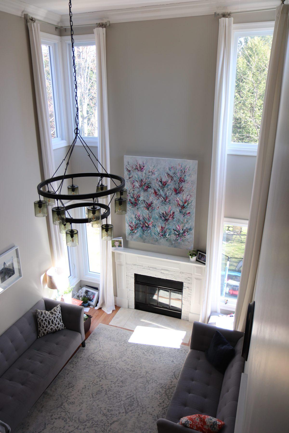 Vertical artwork in high ceiling room