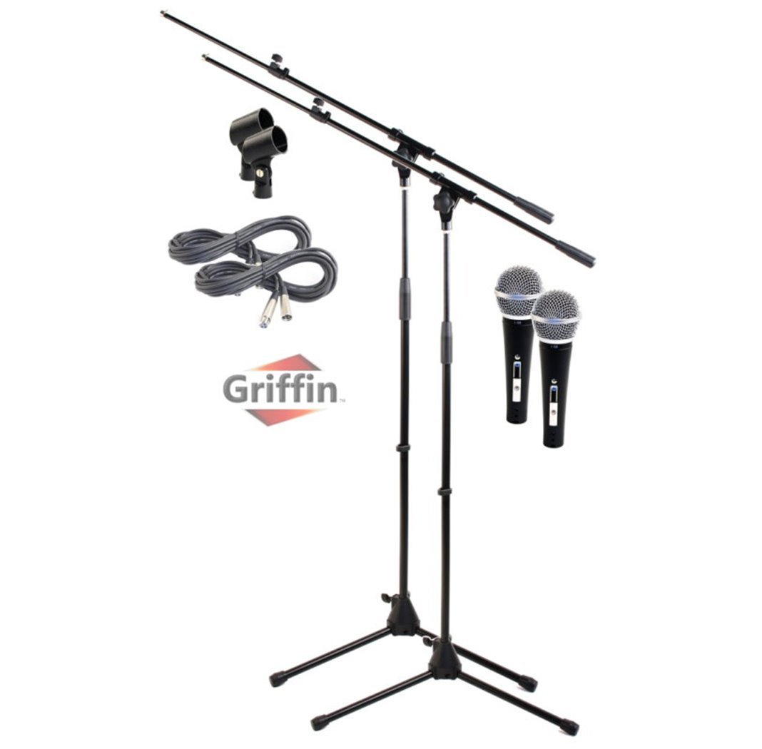 Microphone Boom Stand with XLR Mic Cable, Cardioid Dynamic