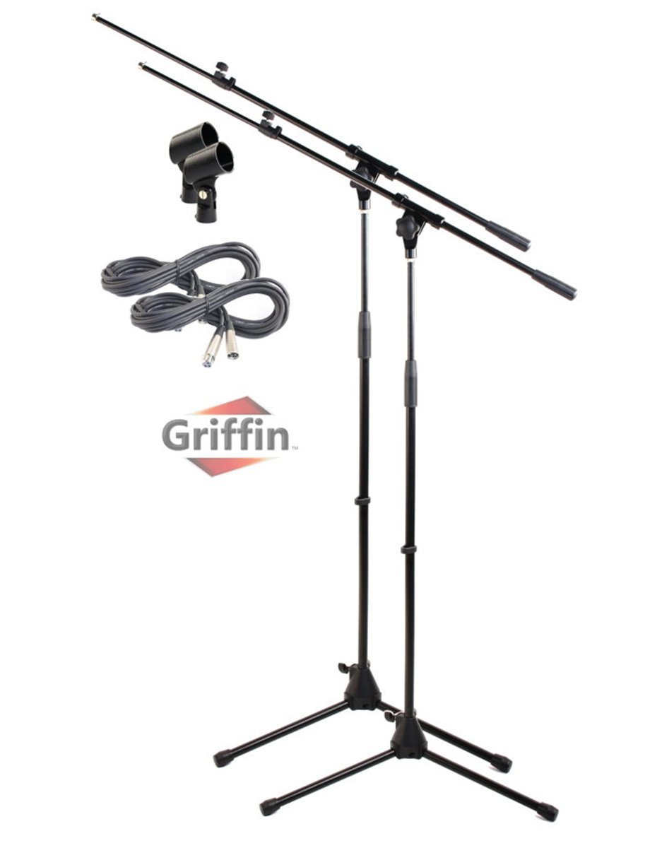 Tripod Microphone Boom Stand with XLR Mic Cable & Clip