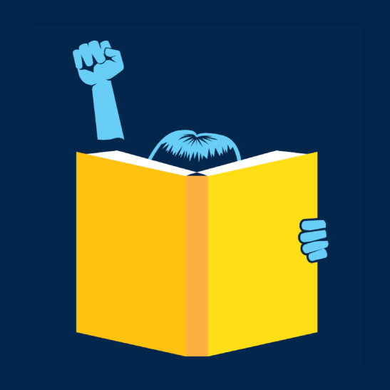 Image of a person reading a book with one fist raised.