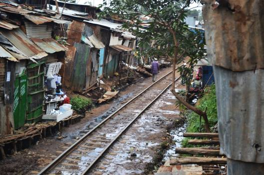 A path on between Chemi Chemi and the Magoso School and orphanage, where an operational railroad runs through Kibera.