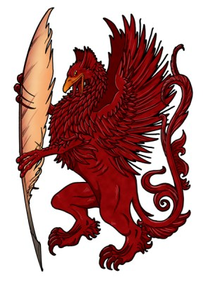 red griffin holding a quill pen, illustrated by lawrence klimecki