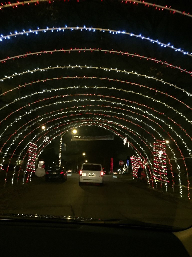 This picture shows Candy Cane Lane's lit up archway that cars can drive through.