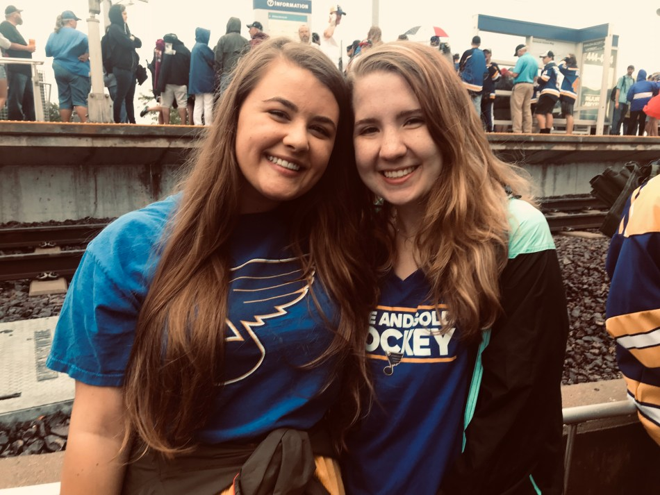 Ashley and Carrie at the STL Blues Parade in 2019