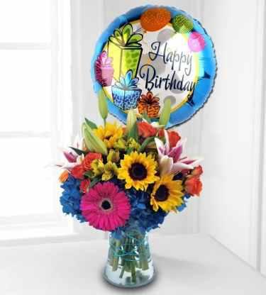birthday flowers balloon duet