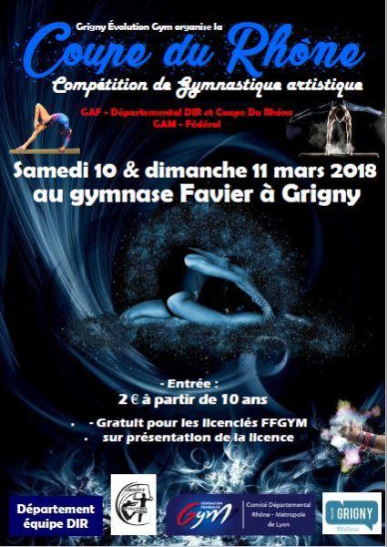 Compétition de gym à Grigny les 10 et 11 mars 2018