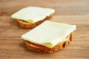 slices of bread and lay two layers the horseradish cheddar on top