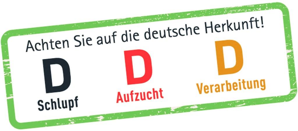 """Putenfleisch - Beim Einkauf sollte man stets auf die deutsche Herkunft achten, zu erkennen an den """"D""""s auf der Verpackung. Diese stehen für eine streng kontrollierte heimische Erzeugung nach hohen Standards für den Tier-, Umwelt- und Verbraucherschutz."""