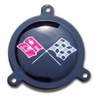 Corvette spinner emblem black upper left square