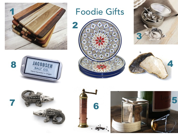 Thoughtful gifts for foodies like artisanal cutting boards, Moroccan inspired dishes, exotic woods for smoking, sea salt and salt cellars.