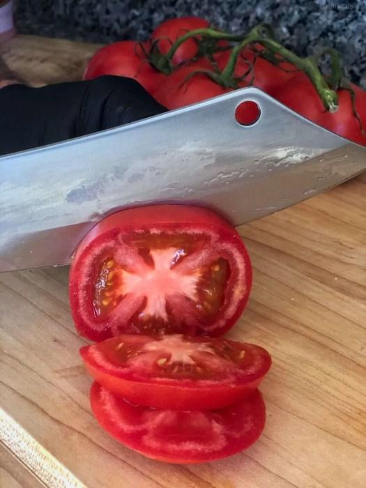 Sliced vine ripened tomatoes
