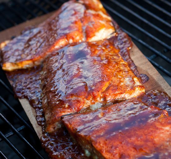 Planked Salmon with a Spicy Mustard Honey Glaze ...