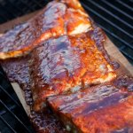 Planked Salmon with a Spicy Mustard Honey Glaze