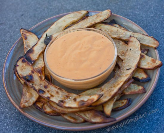 Grilled French Fries with a Grilled Habanero Cheddar Cheese Sauce