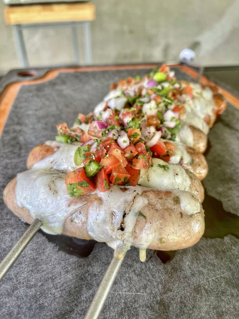 Chorizo Skewers Loaded With Cheese and Pico De Gallo