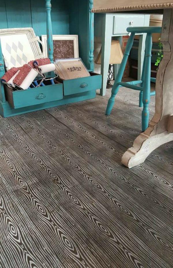 faux concrete painted floor