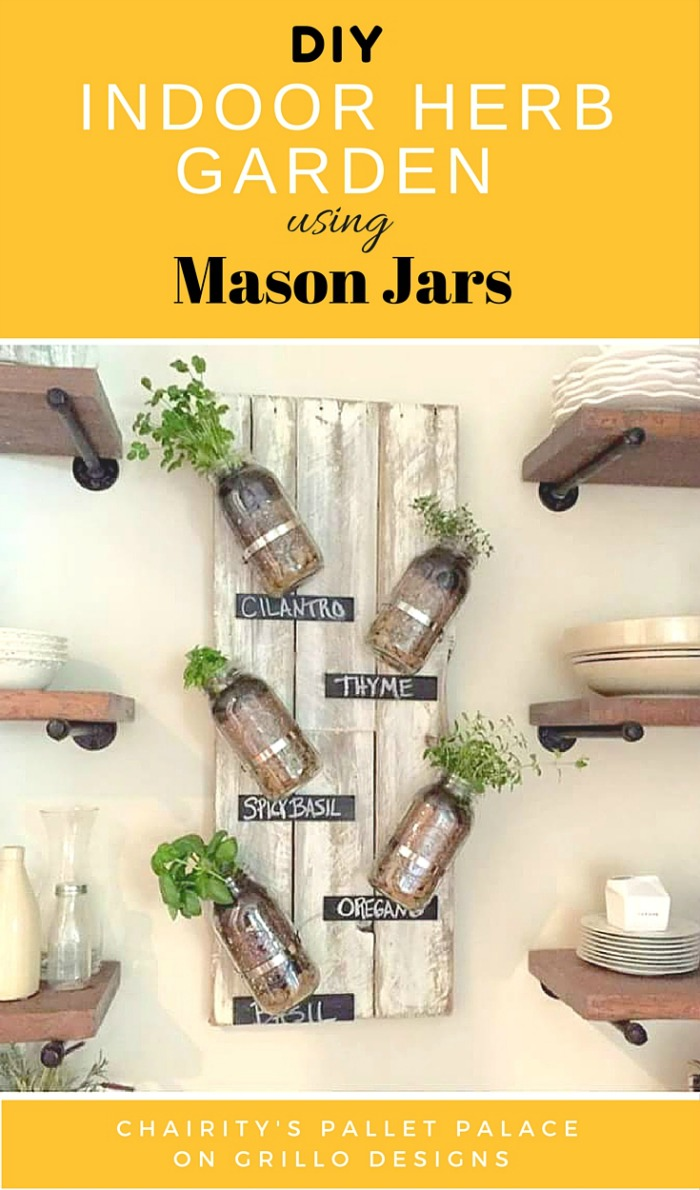 DIY Indoor Herb Garden Using Mason Jars • Grillo Designs