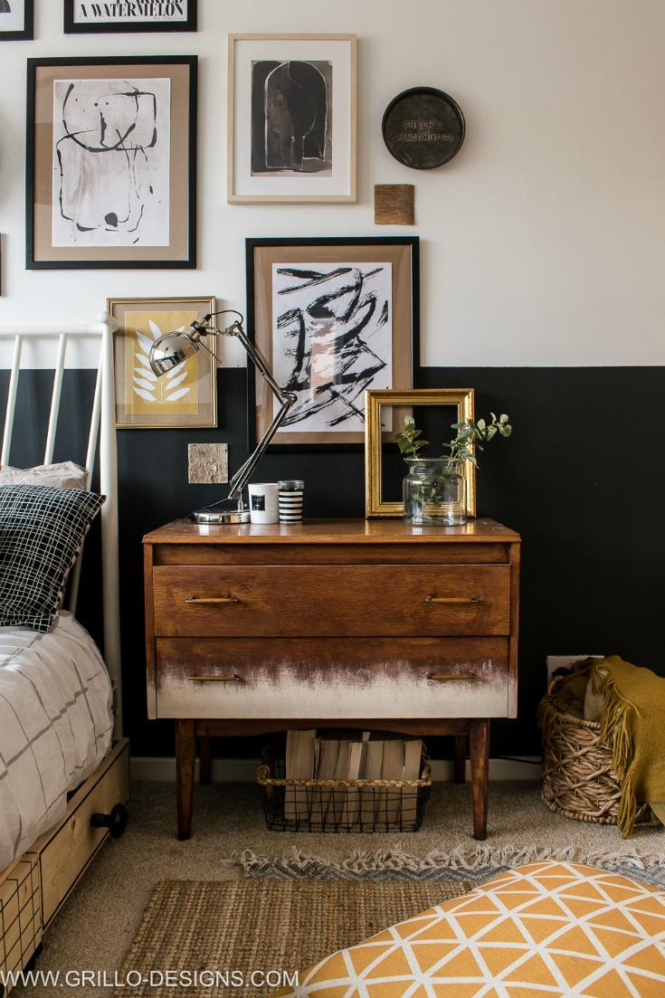 modern vintage small bedroom