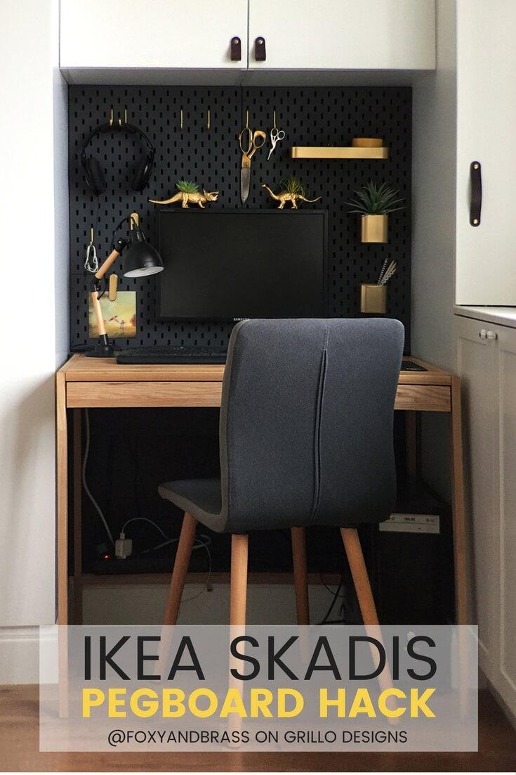IKEA SKADIS HACK  For A Mini Office Nook  Grillo Designs