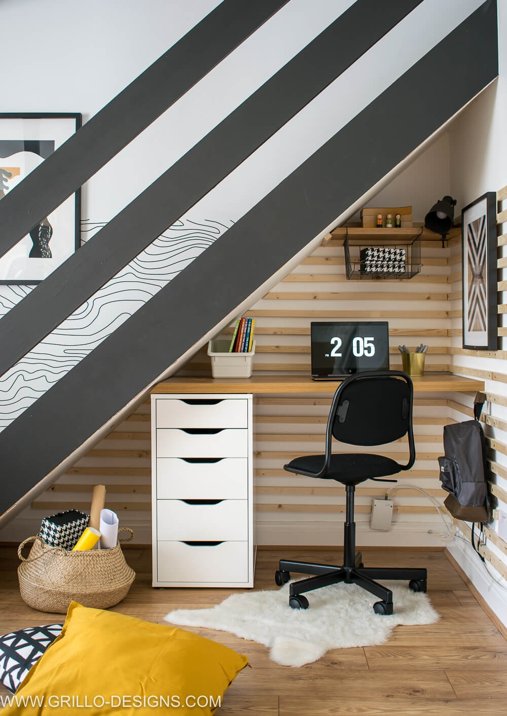 Diy Under Stairs Homework Station With Ikea • Grillo Designs | Space Under Staircase Design | Indoor | Clever | Innovative | Wooden | Understairs