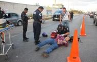 Un bacaeño choca contra una camioneta y se fractura la pierna, en la Mérida-Motul