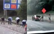 """Un camión blindado se abre en la carretera y conductores aprovechan la """"lluvia de billetes"""" (VÍDEO)"""