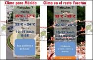 Hoy miércoles Mérida sentirá calor de 37º y el resto de Yucatán hasta 39º