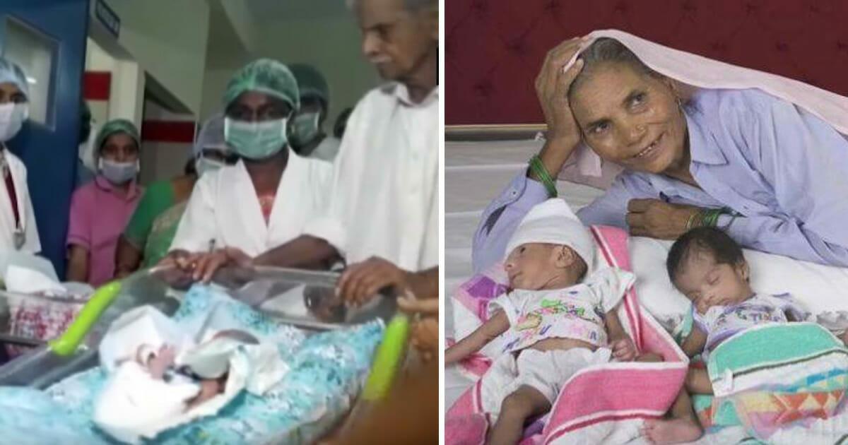 Dio a luz a gemelas a sus 73 años