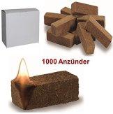 1000 St. Bio Anzünder Grillanzünder Kaminanzünder Ofenanzünder Holzfaser und Wachs -