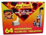 favorit 1249 Anzündwürfel für Grill, Kamin und Ofen, 64-er Pack -
