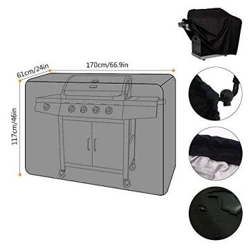 Grill abdeckung, Blusmart großen 66-Zoll-Fasermaterial im Freien wasserdichte Barbeque-Grill-Abdeckung mit Reißverschluss, dicke schwere Premium Cover mit Tragetasche (170 x 61 x 117 cm) (Schwarz) -