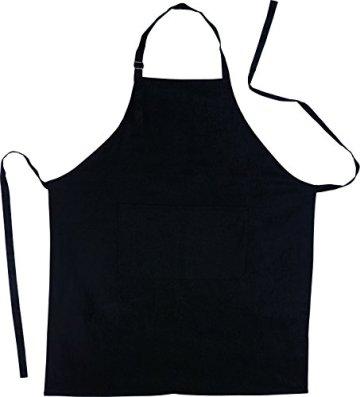 Küchenschürze - Grillschürze - Baumwolle schwarz -
