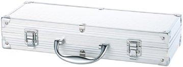 Rosenstein & Söhne Edelstahl-Grillbesteck im Aluminium-Koffer -