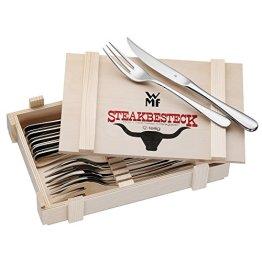 WMF Steakbesteck 12-teilig für 6 Personen in Holzkiste Cromargan Edelstahl rostfrei18/10 poliert -