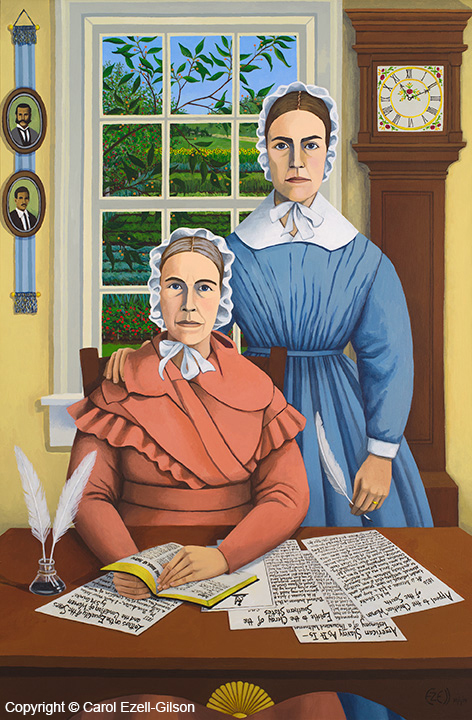 "Sarah and Angelina, the Grimke' Sisters"".  The info - size (54"" x 36"") and ""acrylic on canvas. Prints can be purchased on request."