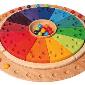 35 kolorowych drewnianych kulek