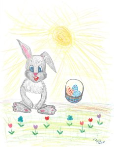 Thankful Bunny with painted eggs