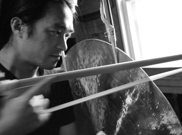 Tatsuya Nakatani hand crafts his own gong bows.