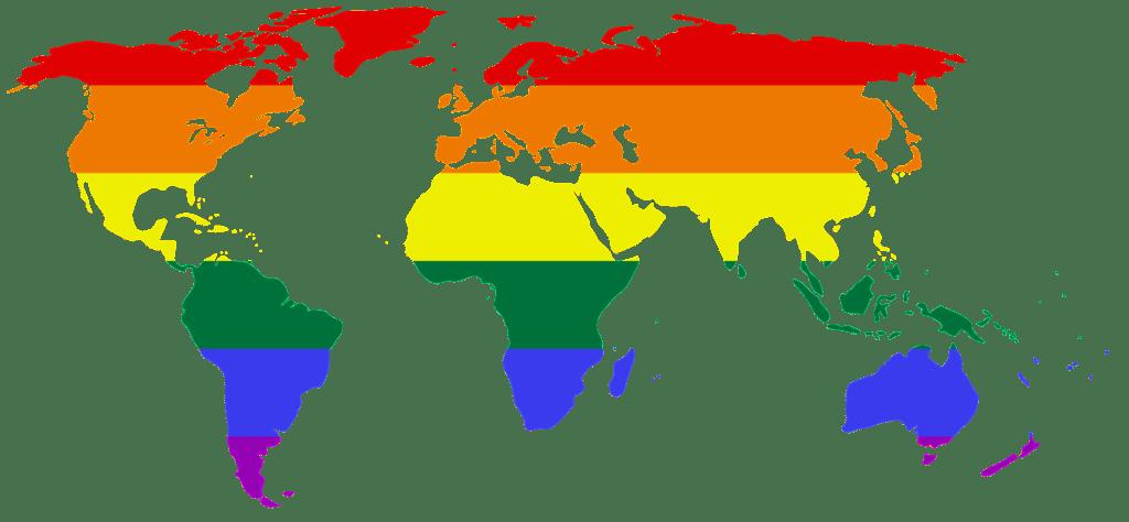 Carte du monde dont les continent sont coloriées par l'arc en ciel