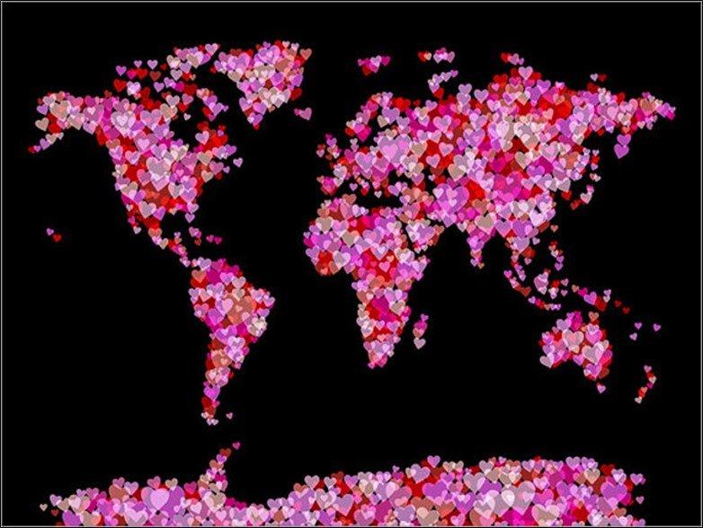 Love Hearts World Map