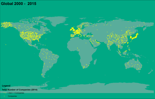 Dot Density Map of the Forbes Global 2000 Companies for the Year 2015