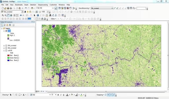 Calculating the Vegetation Indices from Landsat 8 image