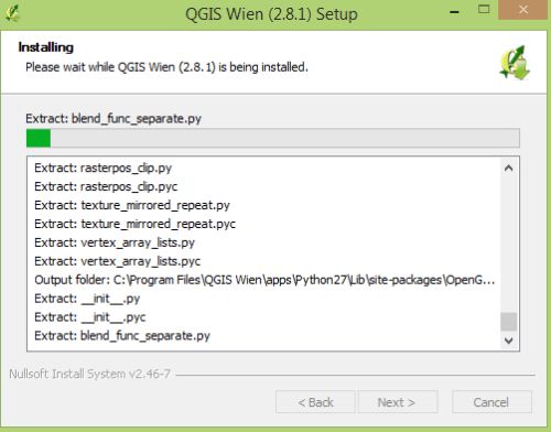 QGIS installation process window
